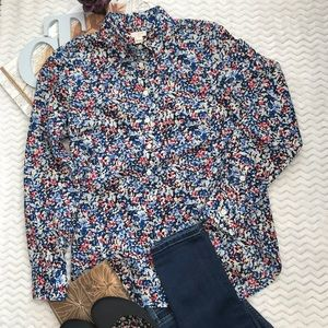 J Crew Floral 3/4 Button Tunic